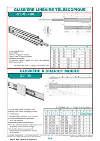 Glissière linéaire télescopique GLT-AL-4160 & à chariot mobile GLCT 115