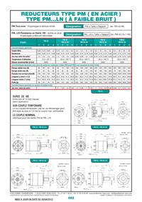 Page 492 : Réducteurs type PM (en acier) - Type PM...LN (à faible bruit)
