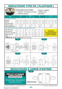 Réducteurs type PK (Plastique)